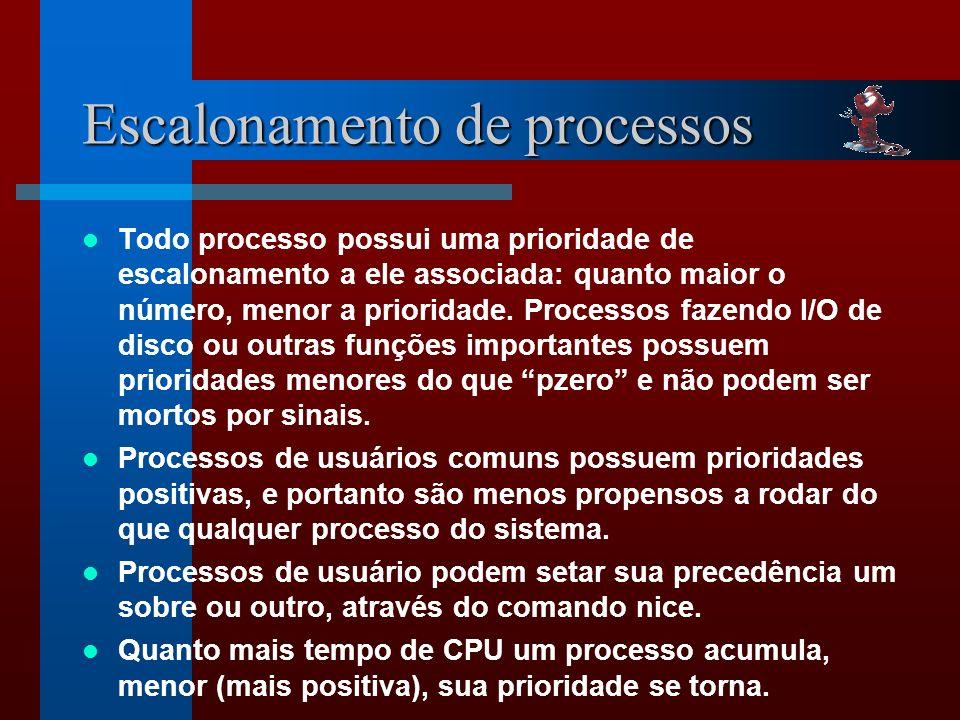 Escalonamento de processos Todo processo possui uma prioridade de escalonamento a ele associada: quanto maior o número, menor a prioridade.