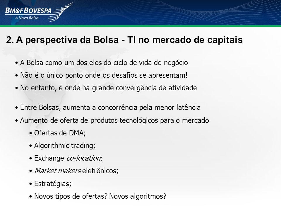 2. A perspectiva da Bolsa - TI no mercado de capitais A Bolsa como um dos elos do ciclo de vida de negócio Não é o único ponto onde os desafios se apr