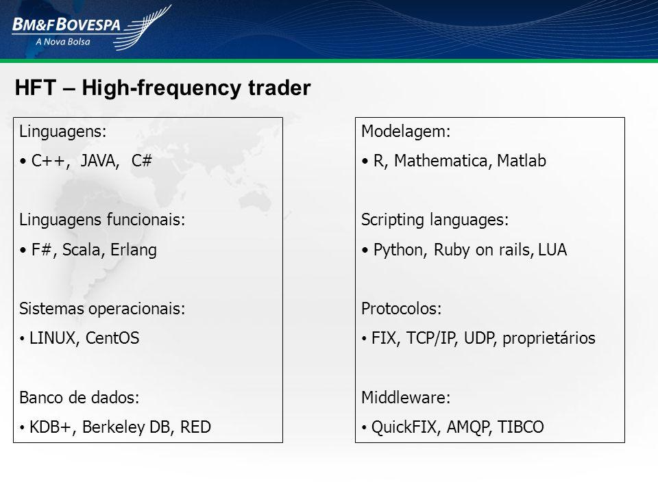 HFT – High-frequency trader Linguagens: C++, JAVA, C# Linguagens funcionais: F#, Scala, Erlang Sistemas operacionais: LINUX, CentOS Banco de dados: KD