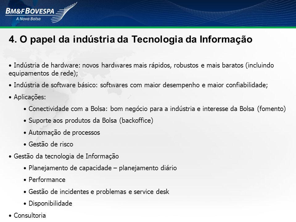 4. O papel da indústria da Tecnologia da Informação Indústria de hardware: novos hardwares mais rápidos, robustos e mais baratos (incluindo equipament