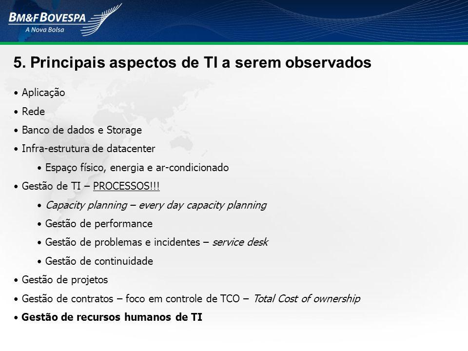 5. Principais aspectos de TI a serem observados Aplicação Rede Banco de dados e Storage Infra-estrutura de datacenter Espaço físico, energia e ar-cond
