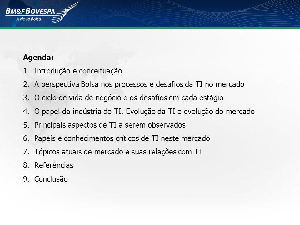 Agenda: 1.Introdução e conceituação 2.A perspectiva Bolsa nos processos e desafios da TI no mercado 3.O ciclo de vida de negócio e os desafios em cada