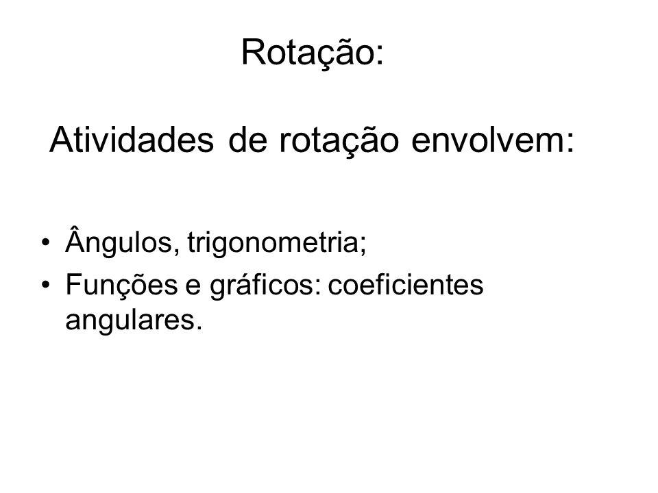 Rotação: Atividades de rotação envolvem: Ângulos, trigonometria; Funções e gráficos: coeficientes angulares.