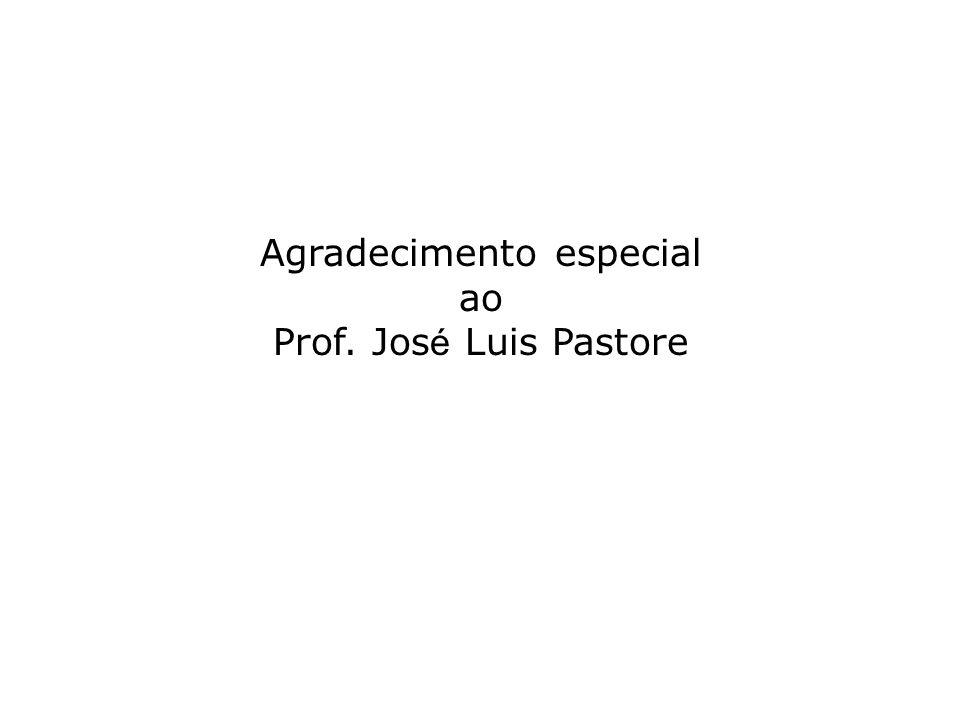 Agradecimento especial ao Prof. Jos é Luis Pastore