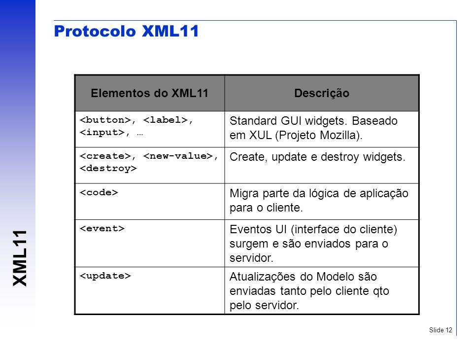 XML11 Slide 12 Protocolo XML11 Elementos do XML11Descrição,,, … Standard GUI widgets. Baseado em XUL (Projeto Mozilla).,, Create, update e destroy wid