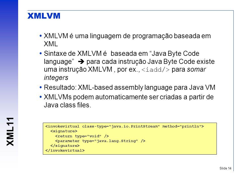 XML11 Slide 14 XMLVM XMLVM é uma linguagem de programação baseada em XML Sintaxe de XMLVM é baseada em Java Byte Code language para cada instrução Jav