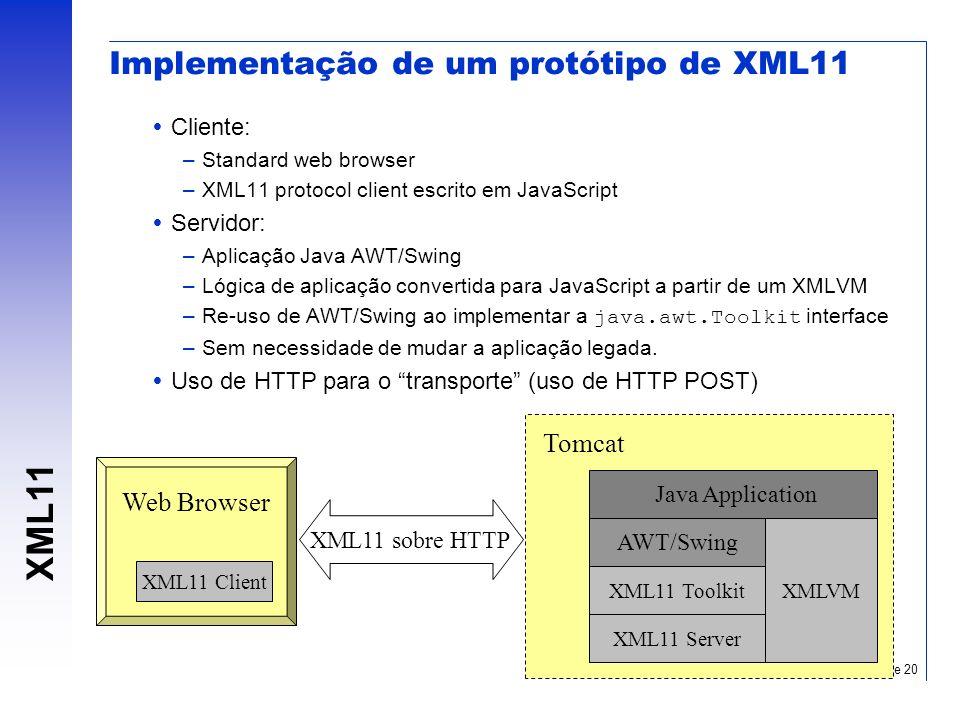 XML11 Slide 20 Implementação de um protótipo de XML11 Cliente: –Standard web browser –XML11 protocol client escrito em JavaScript Servidor: –Aplicação