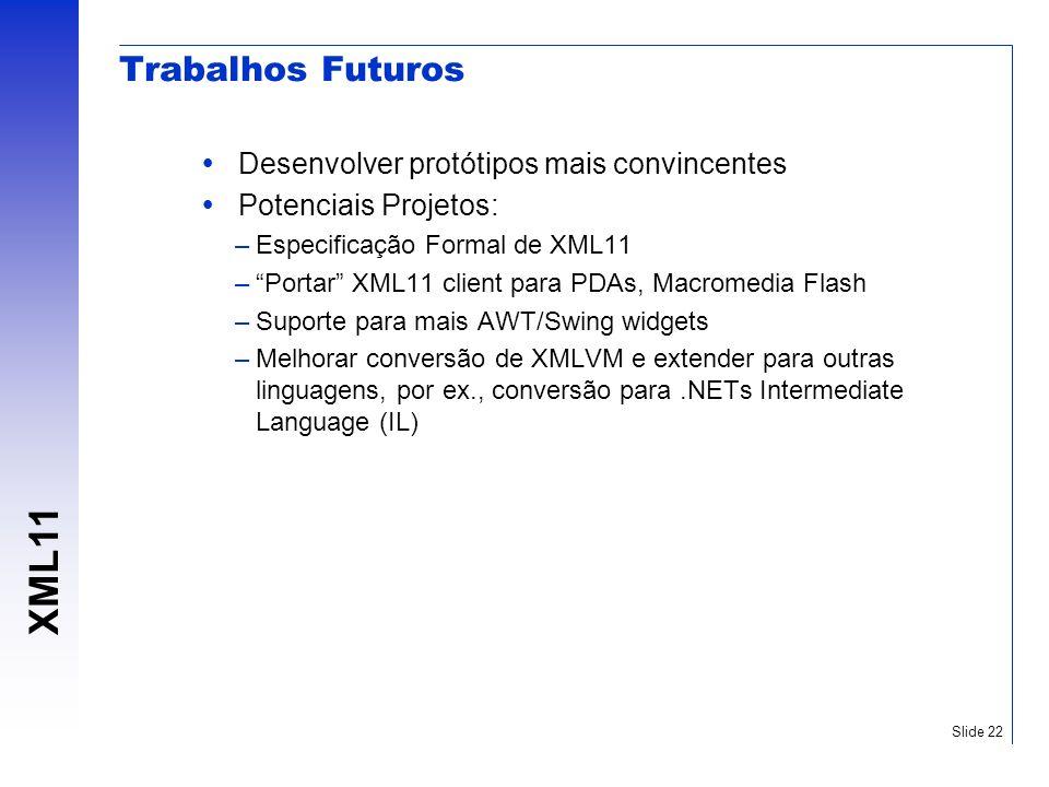 XML11 Slide 22 Trabalhos Futuros Desenvolver protótipos mais convincentes Potenciais Projetos: –Especificação Formal de XML11 –Portar XML11 client par