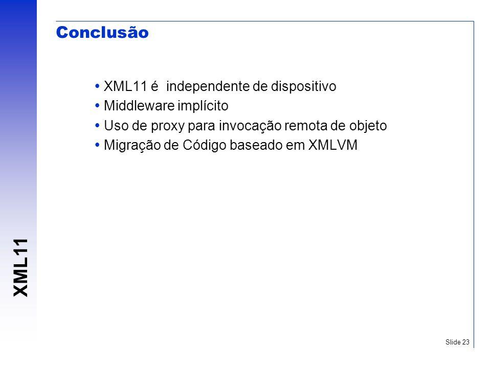 XML11 Slide 23 Conclusão XML11 é independente de dispositivo Middleware implícito Uso de proxy para invocação remota de objeto Migração de Código base