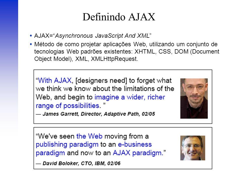 Definindo AJAX AJAX=Asynchronous JavaScript And XML Método de como projetar aplicações Web, utilizando um conjunto de tecnologias Web padrões existent