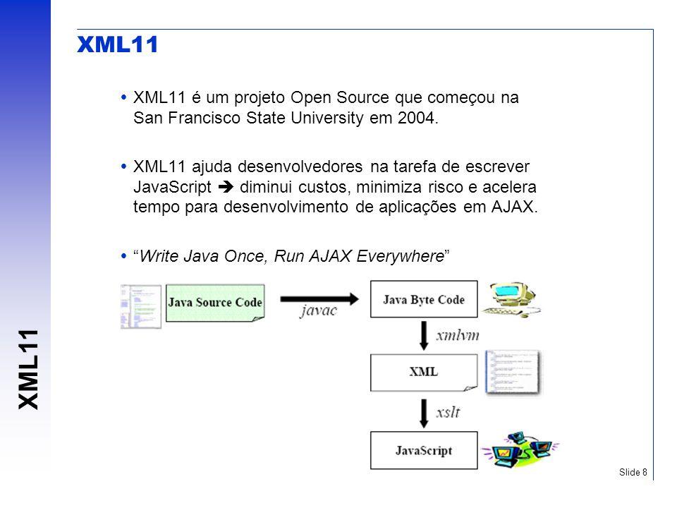 XML11 Slide 8 XML11 XML11 é um projeto Open Source que começou na San Francisco State University em 2004. XML11 ajuda desenvolvedores na tarefa de esc