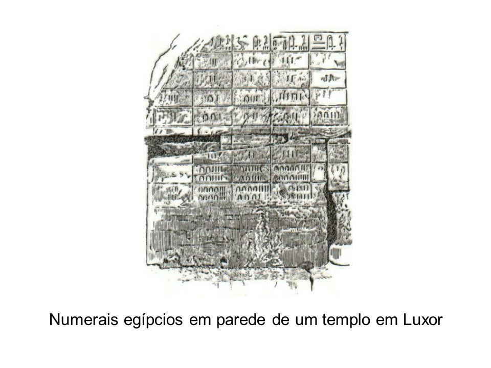 Numerais egípcios em parede de um templo em Luxor