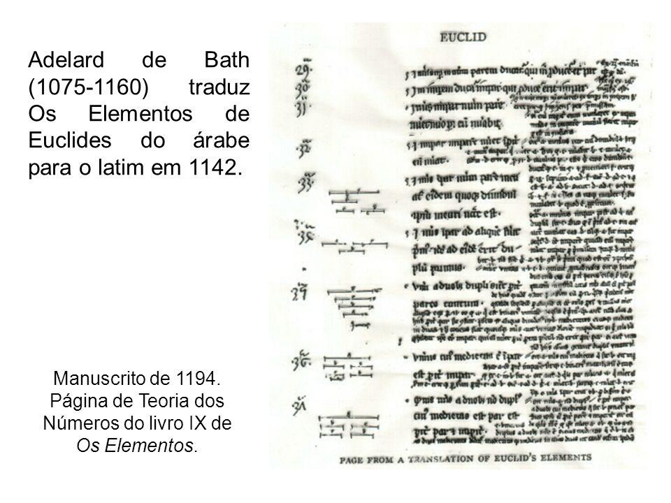 Adelard de Bath (1075-1160) traduz Os Elementos de Euclides do árabe para o latim em 1142. Manuscrito de 1194. Página de Teoria dos Números do livro I