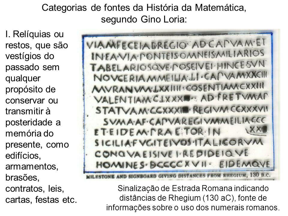 Categorias de fontes da História da Matemática, segundo Gino Loria: I. Relíquias ou restos, que são vestígios do passado sem qualquer propósito de con