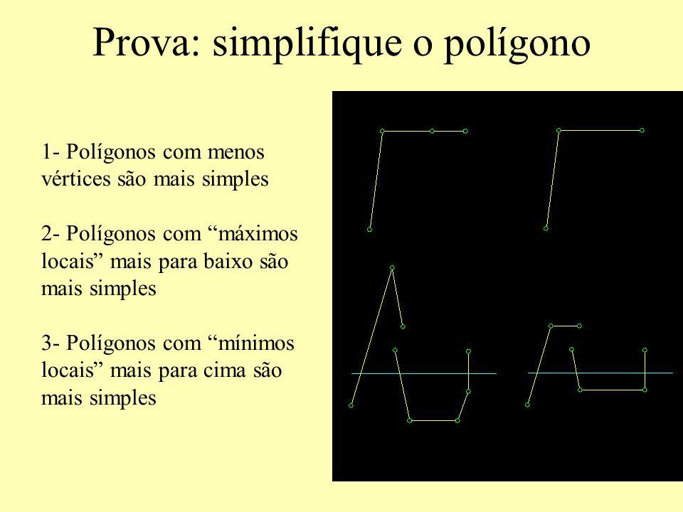 Prova: simplifique o polígono 1- Polígonos com menos vértices são mais simples 2- Polígonos com máximos locais mais para baixo são mais simples 3- Polígonos com mínimos locais mais para cima são mais simples