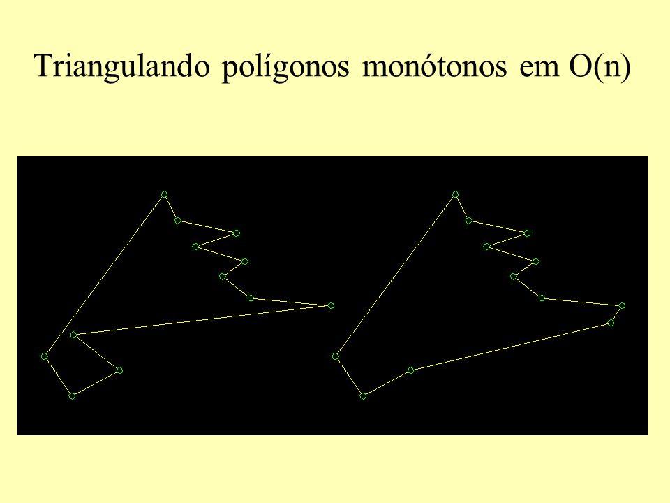 Triangulando polígonos monótonos em O(n)