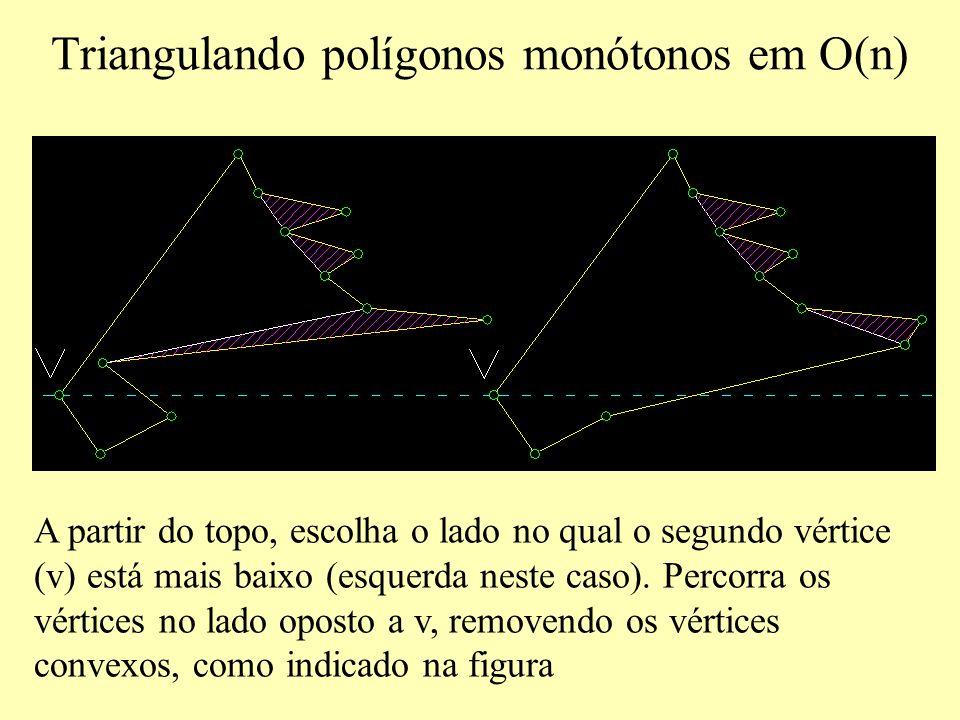 A partir do topo, escolha o lado no qual o segundo vértice (v) está mais baixo (esquerda neste caso).
