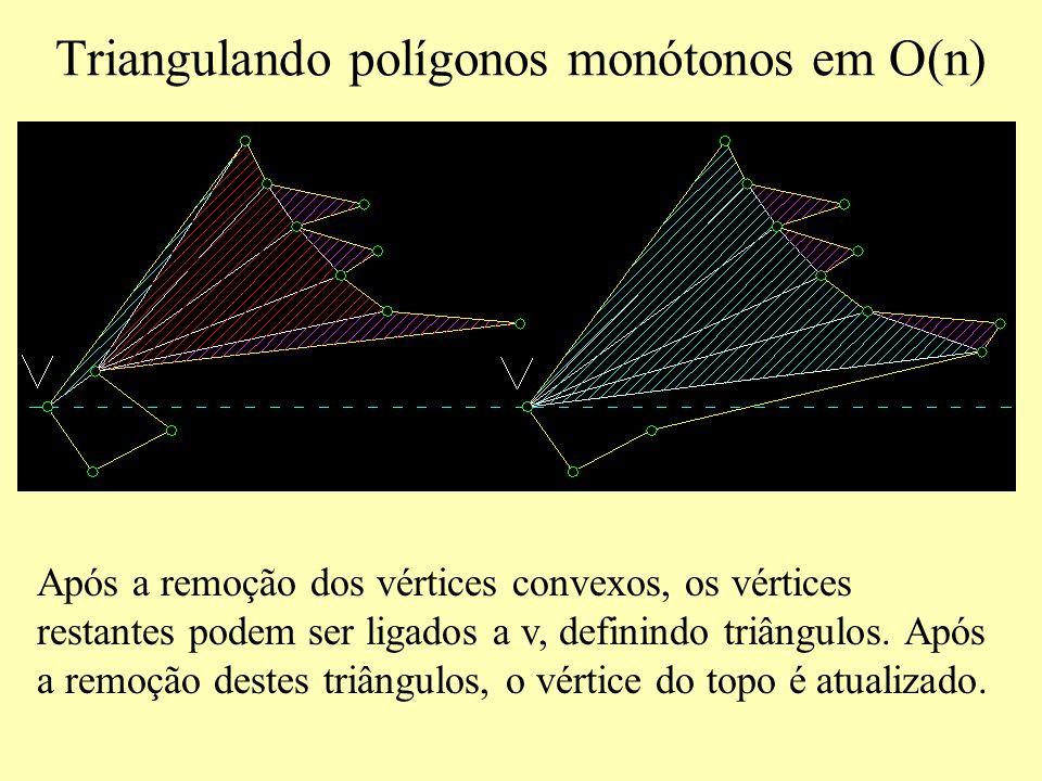 Triangulando polígonos monótonos em O(n) Após a remoção dos vértices convexos, os vértices restantes podem ser ligados a v, definindo triângulos.