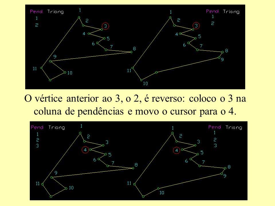 O vértice anterior ao 3, o 2, é reverso: coloco o 3 na coluna de pendências e movo o cursor para o 4.