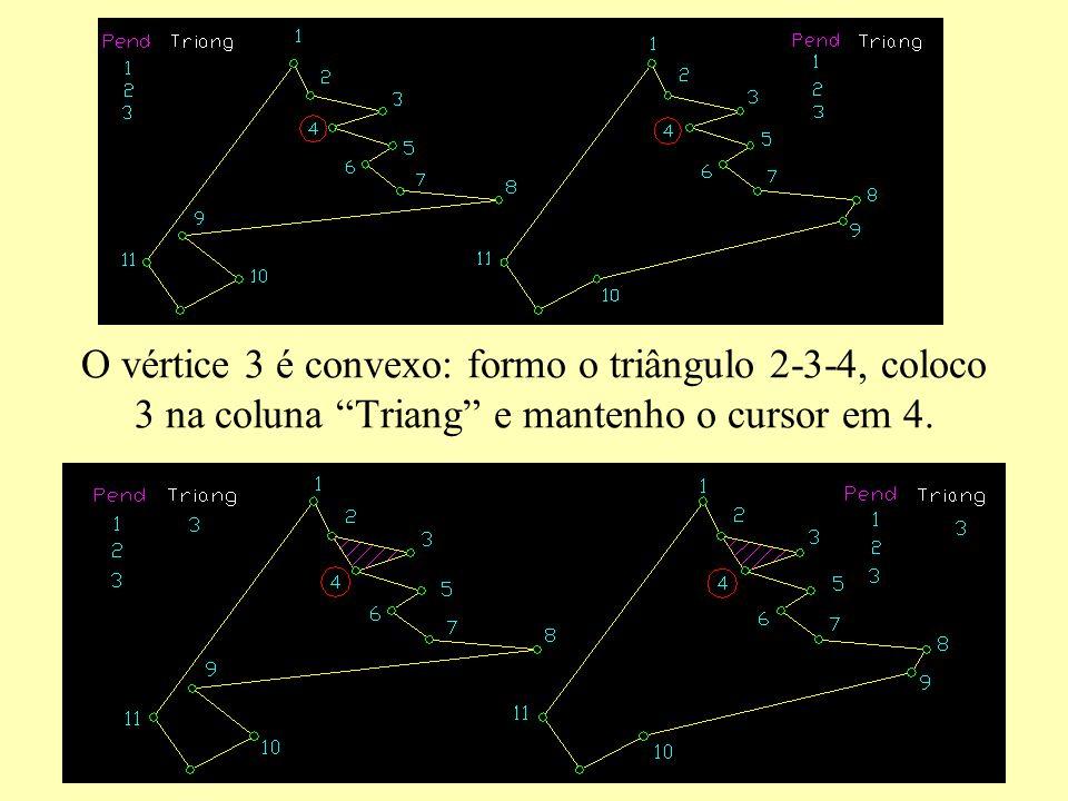 O vértice 3 é convexo: formo o triângulo 2-3-4, coloco 3 na coluna Triang e mantenho o cursor em 4.
