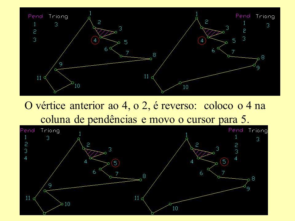 O vértice anterior ao 4, o 2, é reverso: coloco o 4 na coluna de pendências e movo o cursor para 5.