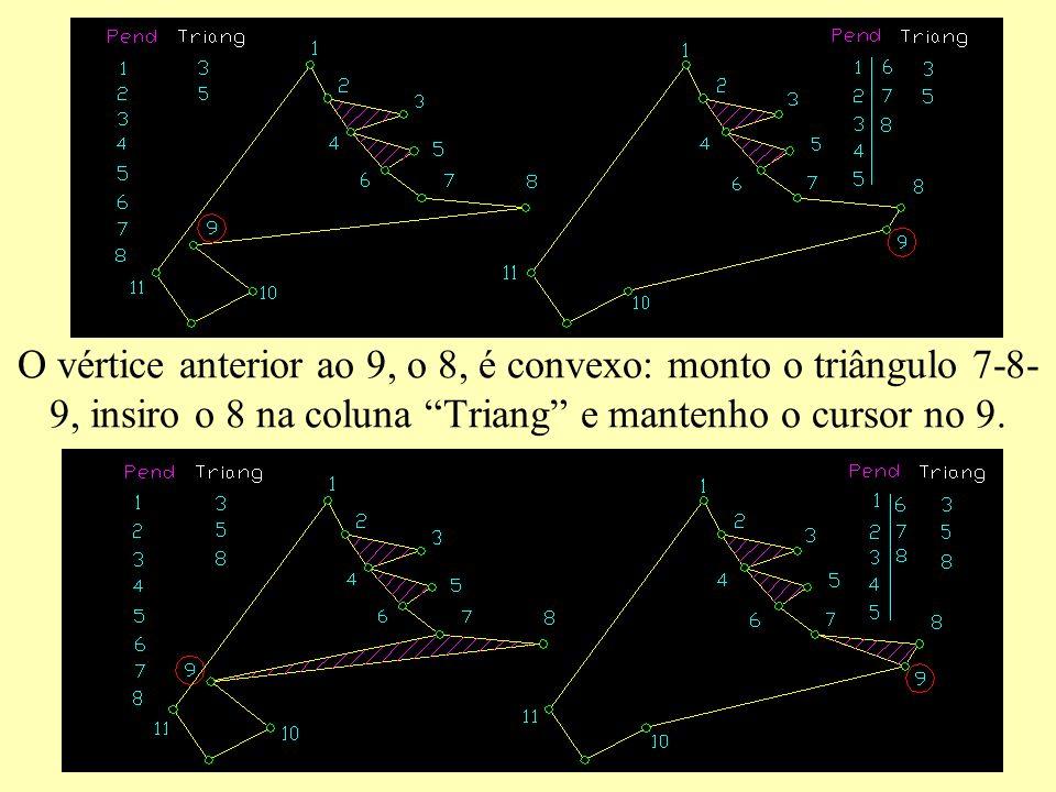 O vértice anterior ao 9, o 8, é convexo: monto o triângulo 7-8- 9, insiro o 8 na coluna Triang e mantenho o cursor no 9.