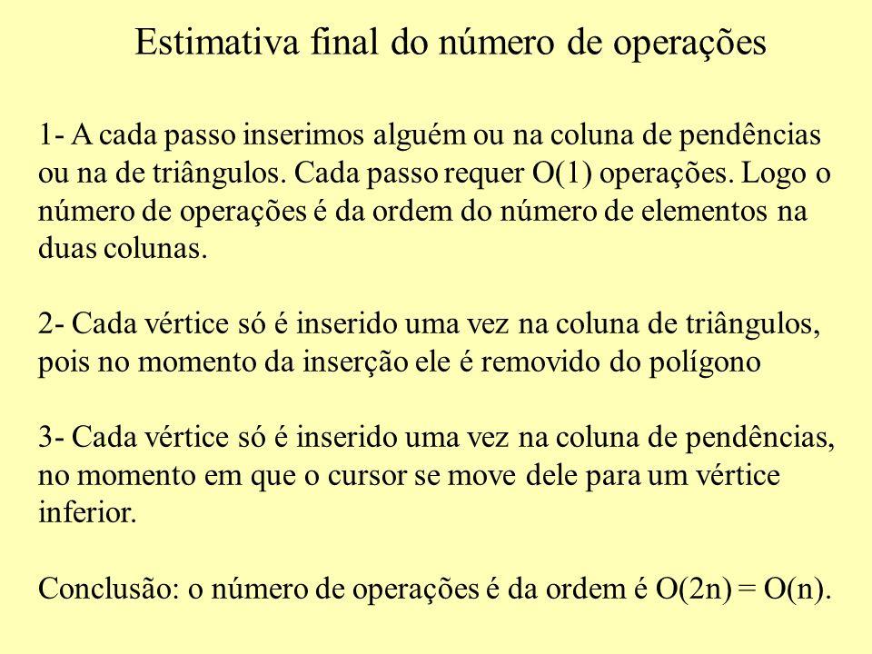 Estimativa final do número de operações 1- A cada passo inserimos alguém ou na coluna de pendências ou na de triângulos.