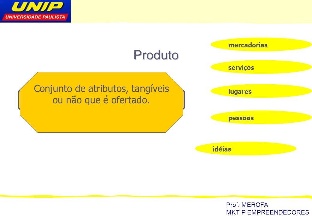 Prof: MEROFA MKT P EMPREENDEDORES Produto características físicas Marca Embalagem Desenho garantia cor reputação do vendedor serviços do vendedor ambiente