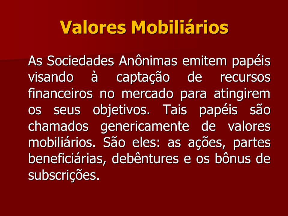 Valores Mobiliários As Sociedades Anônimas emitem papéis visando à captação de recursos financeiros no mercado para atingirem os seus objetivos. Tais