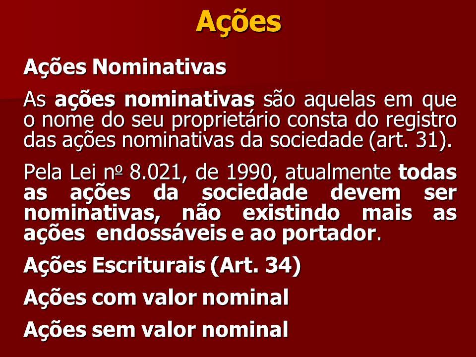 Ações Ações Nominativas As ações nominativas são aquelas em que o nome do seu proprietário consta do registro das ações nominativas da sociedade (art.