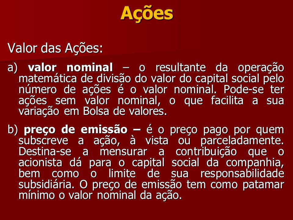 Ações Valor das Ações: a) valor nominal – o resultante da operação matemática de divisão do valor do capital social pelo número de ações é o valor nom