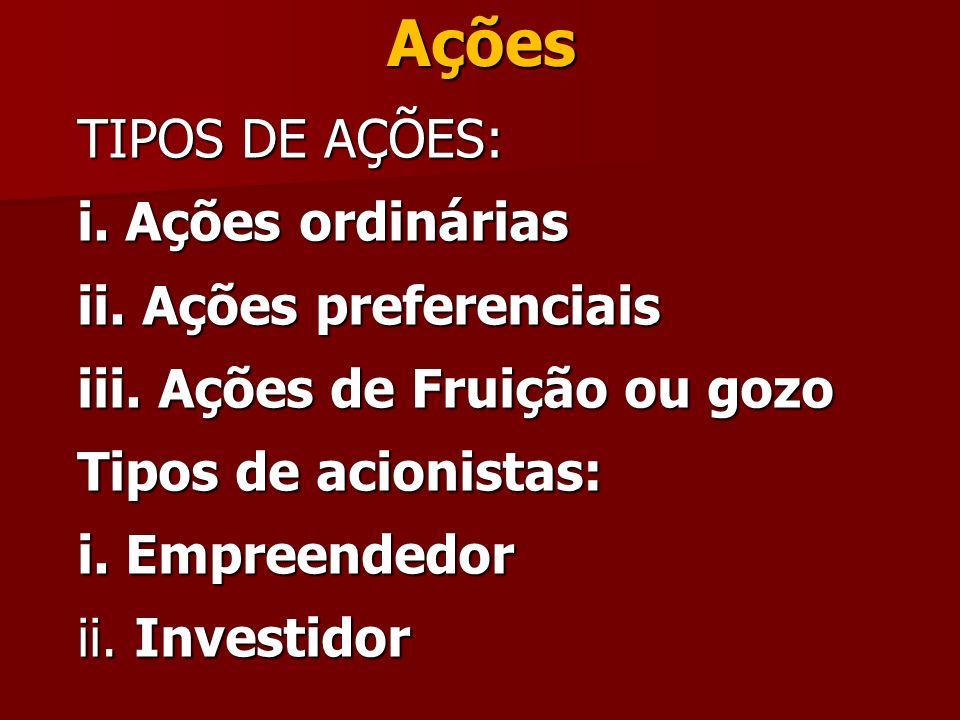 Ações TIPOS DE AÇÕES: i. Ações ordinárias ii. Ações preferenciais iii. Ações de Fruição ou gozo Tipos de acionistas: i. Empreendedor ii. Investidor