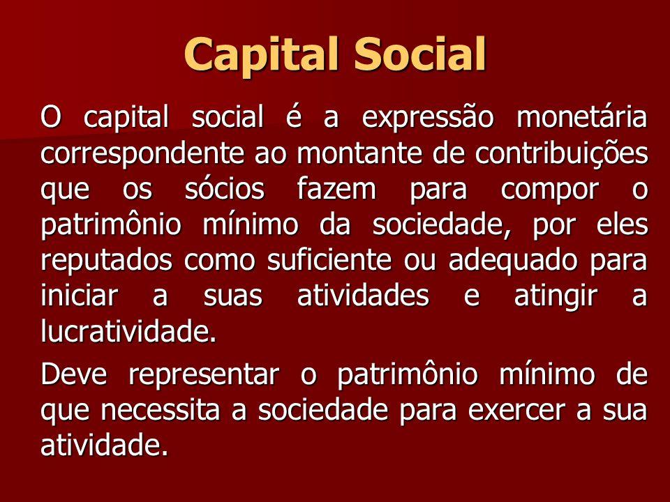 Capital Social O capital social é a expressão monetária correspondente ao montante de contribuições que os sócios fazem para compor o patrimônio mínim