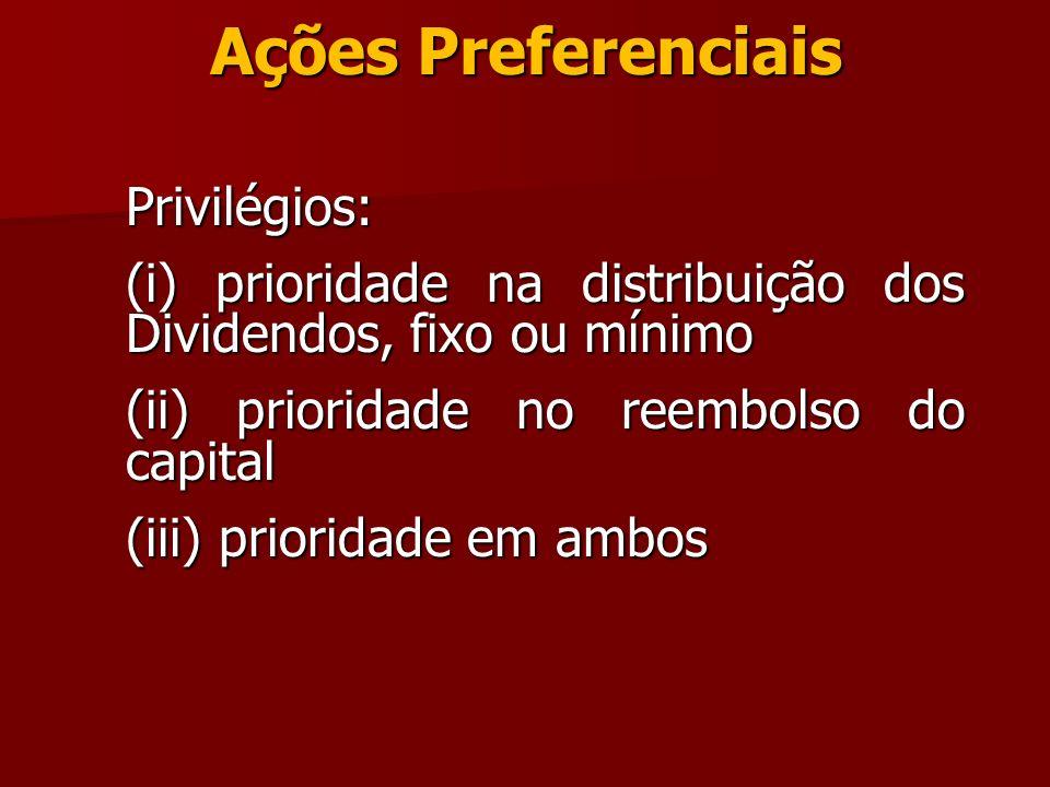 Ações Preferenciais Privilégios: (i) prioridade na distribuição dos Dividendos, fixo ou mínimo (ii) prioridade no reembolso do capital (iii) prioridad