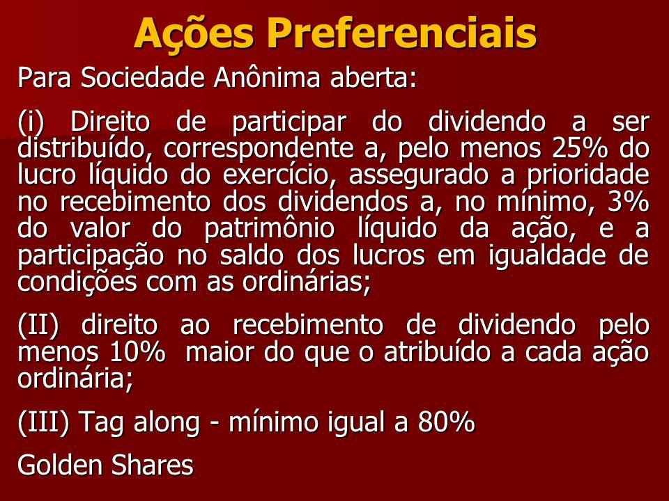 Ações Preferenciais Para Sociedade Anônima aberta: (i) Direito de participar do dividendo a ser distribuído, correspondente a, pelo menos 25% do lucro