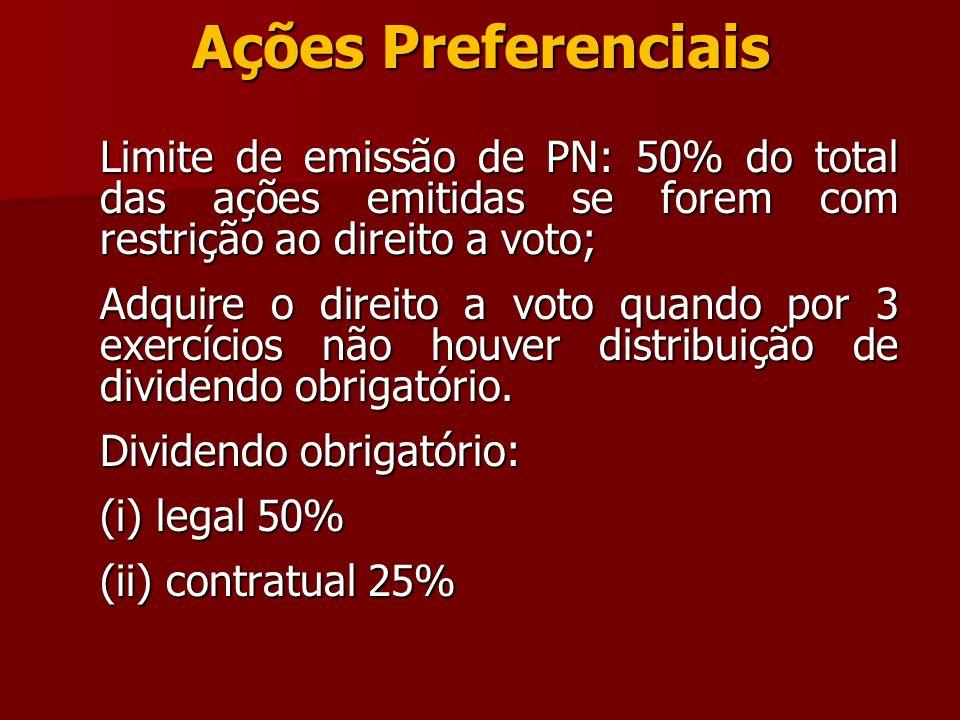 Ações Preferenciais Limite de emissão de PN: 50% do total das ações emitidas se forem com restrição ao direito a voto; Adquire o direito a voto quando