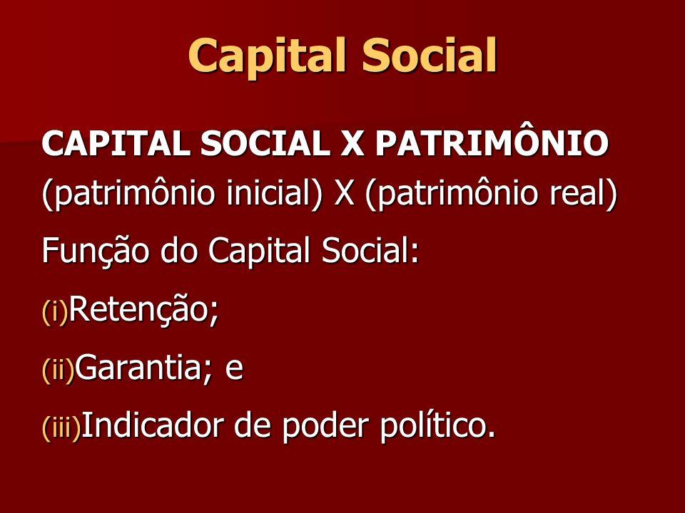 Capital Social CAPITAL SOCIAL X PATRIMÔNIO (patrimônio inicial) X (patrimônio real) Função do Capital Social: (i) Retenção; (ii) Garantia; e (iii) Ind