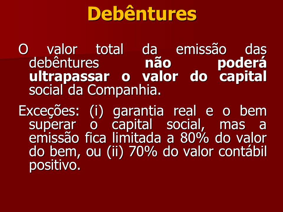 Debêntures O valor total da emissão das debêntures não poderá ultrapassar o valor do capital social da Companhia. Exceções: (i) garantia real e o bem