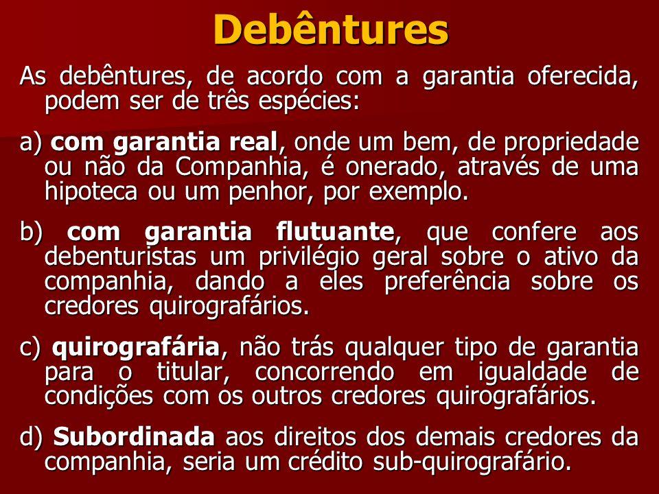 Debêntures As debêntures, de acordo com a garantia oferecida, podem ser de três espécies: a) com garantia real, onde um bem, de propriedade ou não da