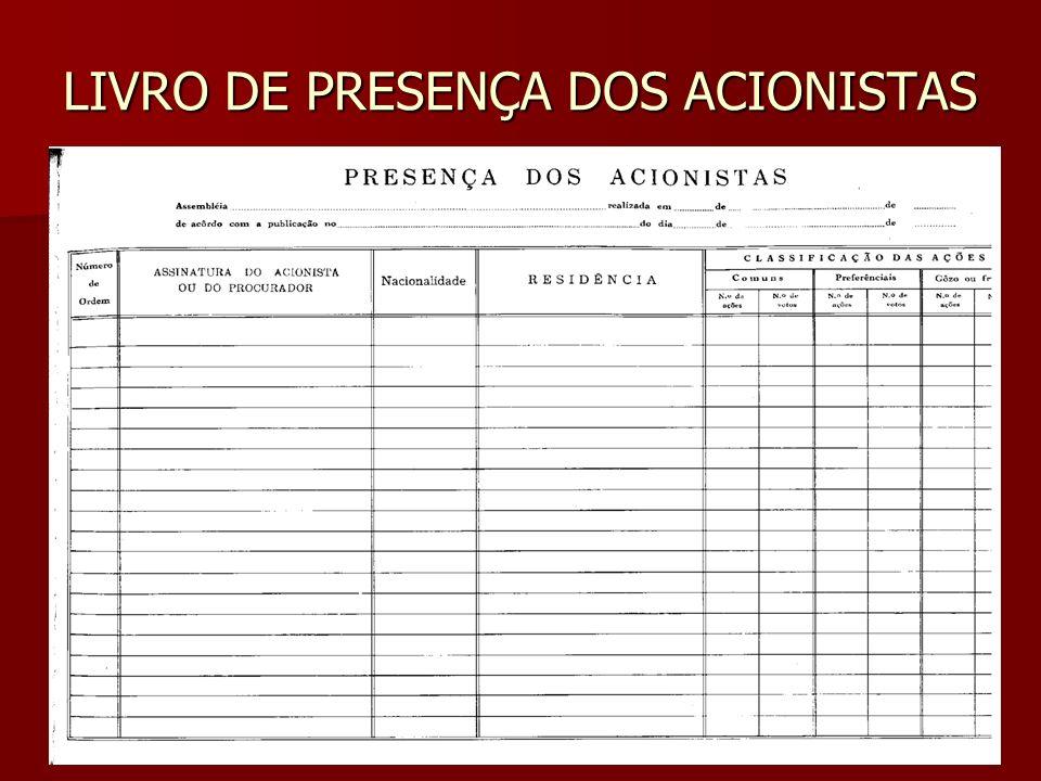LIVRO DE PRESENÇA DOS ACIONISTAS