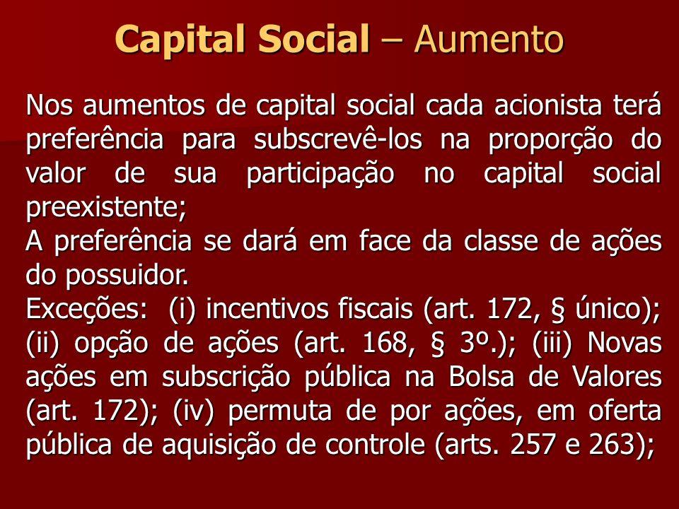 Capital Social – Aumento Nos aumentos de capital social cada acionista terá preferência para subscrevê-los na proporção do valor de sua participação n