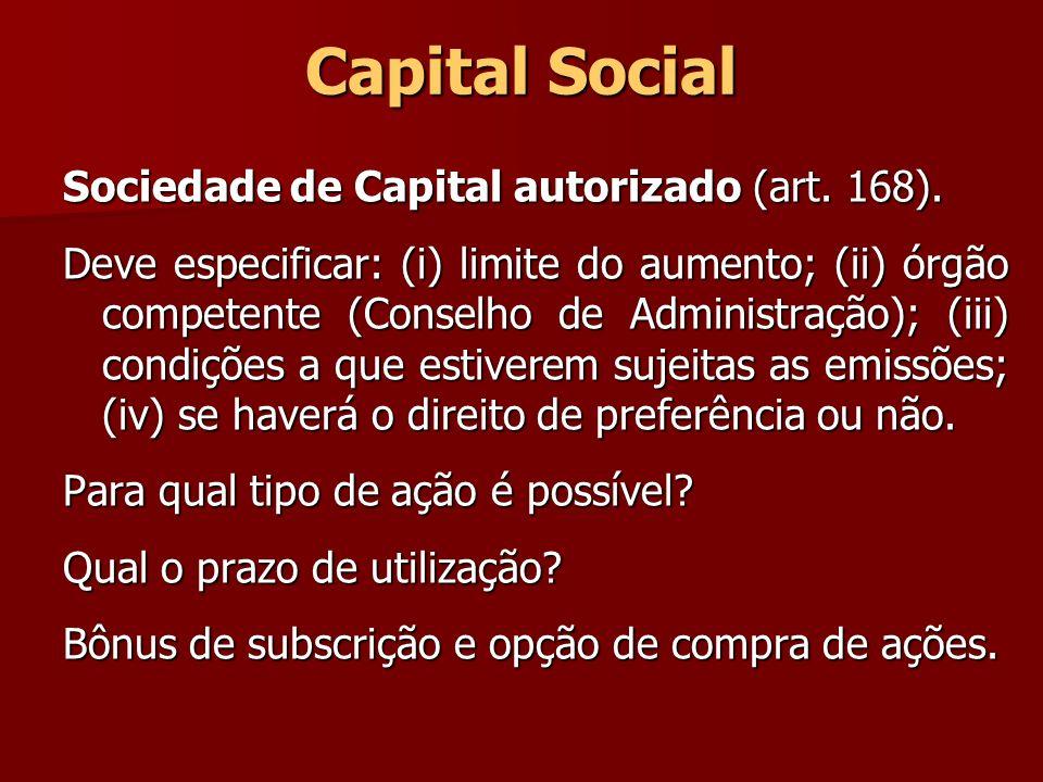 Capital Social Sociedade de Capital autorizado (art. 168). Deve especificar: (i) limite do aumento; (ii) órgão competente (Conselho de Administração);