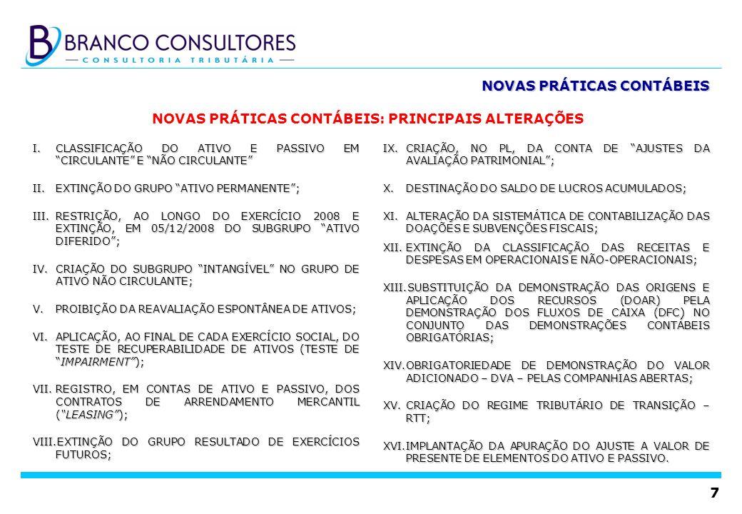 7 NOVAS PRÁTICAS CONTÁBEIS I.CLASSIFICAÇÃO DO ATIVO E PASSIVO EM CIRCULANTE E NÃO CIRCULANTE II.EXTINÇÃO DO GRUPO ATIVO PERMANENTE; III.RESTRIÇÃO, AO