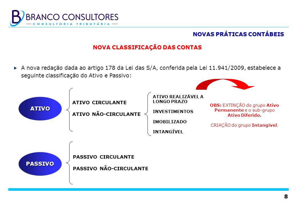 8 NOVA CLASSIFICAÇÃO DAS CONTAS A nova redação dada ao artigo 178 da Lei das S/A, conferida pela Lei 11.941/2009, estabelece a seguinte classificação