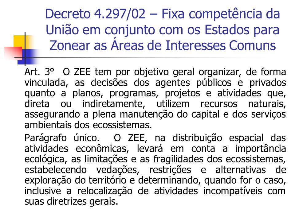 Decreto 4.297/02 – Fixa competência da União em conjunto com os Estados para Zonear as Áreas de Interesses Comuns Art. 3° O ZEE tem por objetivo geral