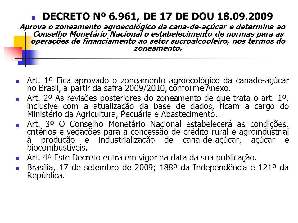 DECRETO Nº 6.961, DE 17 DE DOU 18.09.2009 Aprova o zoneamento agroecológico da cana-de-açúcar e determina ao Conselho Monetário Nacional o estabelecim