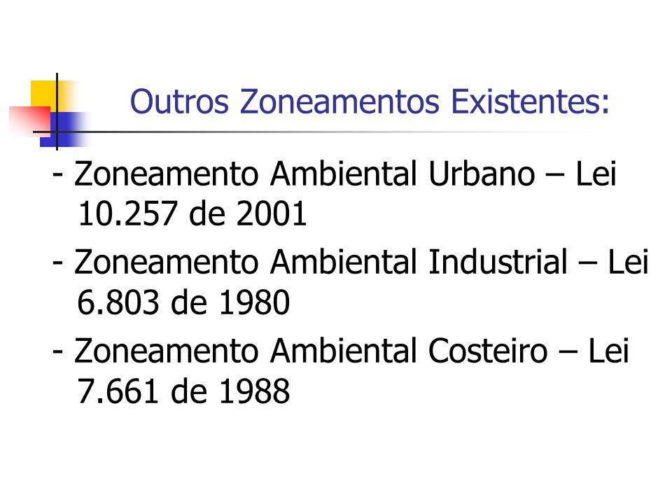 Outros Zoneamentos Existentes: - Zoneamento Ambiental Urbano – Lei 10.257 de 2001 - Zoneamento Ambiental Industrial – Lei 6.803 de 1980 - Zoneamento A