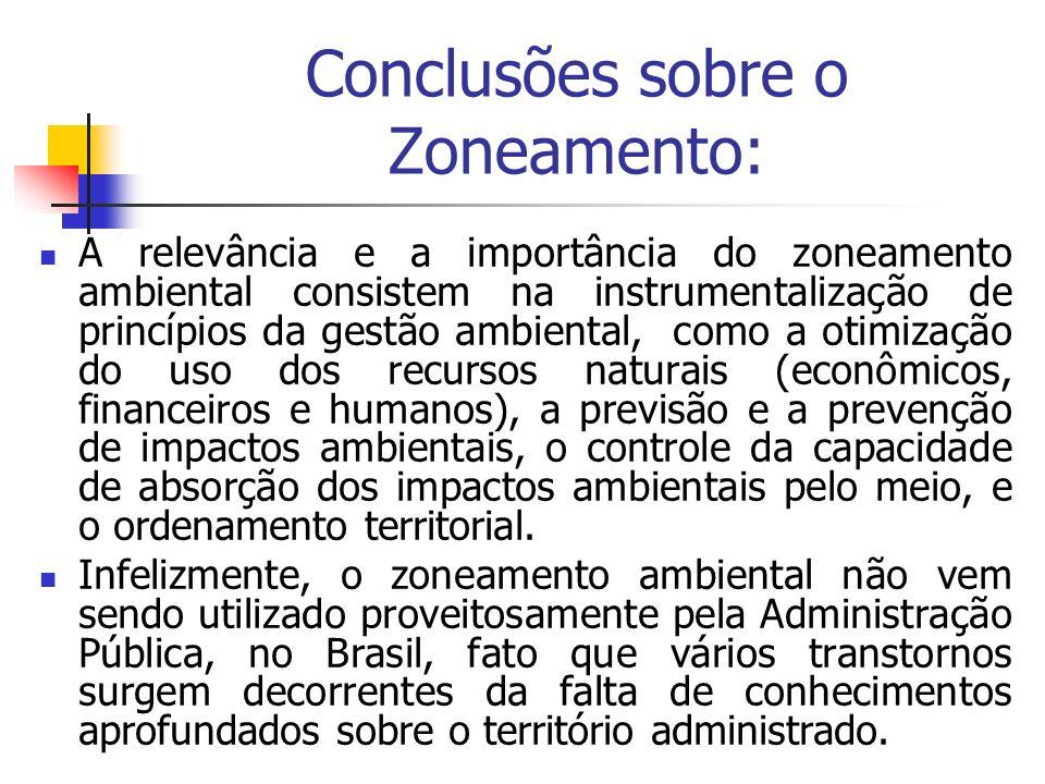 Conclusões sobre o Zoneamento: A relevância e a importância do zoneamento ambiental consistem na instrumentalização de princípios da gestão ambiental,