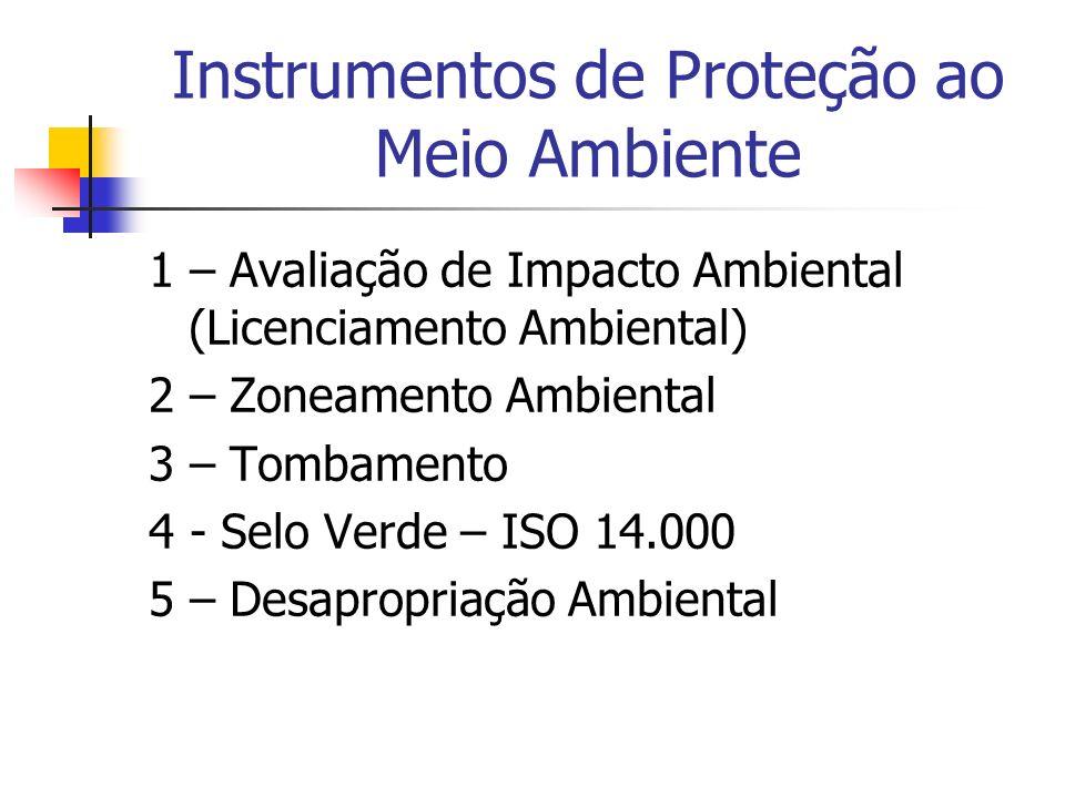 1 – Avaliação de Impacto Ambiental (Licenciamento Ambiental) 2 – Zoneamento Ambiental 3 – Tombamento 4 - Selo Verde – ISO 14.000 5 – Desapropriação Am