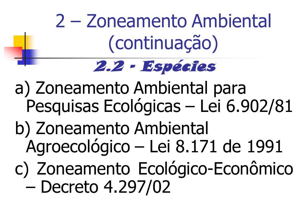 2 – Zoneamento Ambiental (continuação) 2.2 - Espécies a) Zoneamento Ambiental para Pesquisas Ecológicas – Lei 6.902/81 b) Zoneamento Ambiental Agroeco